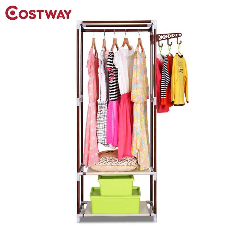 COSTWAY Simple Clothes Coat Rack Bedroom Floor Hanging Clothes Storage Shelves Balcony Multi-functional Drying Racks W0201 ns novelties go go rabbit белый вибромассажер в форме кролика
