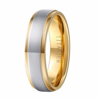 New Fashion Pure Titanium Wedding Band With 18K Gold Plated Best Gift For Men Jewelry Free