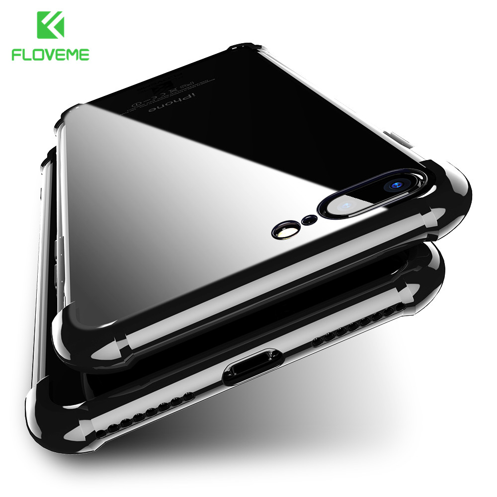 FLOVEME Plating Anti-Knock 360 Case for iPhone 8 7 8 plus Case for iPhone 7 6s 6 7 plus Full Coverage Protector Back Cover Capa iPhone 8