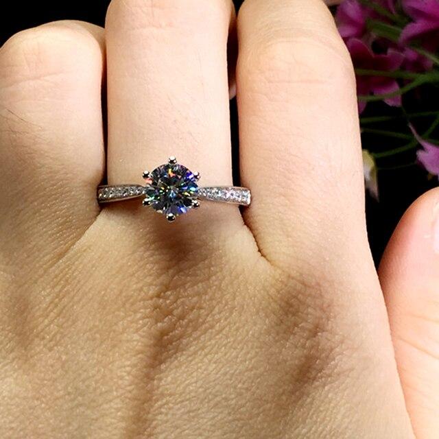 1ct DF Moissanites pierścień 14K biały pozłacane srebro Lab Grown Moissanites diamentowy pierścionek zaręczynowy kobiety klasyczne 6 rogacz