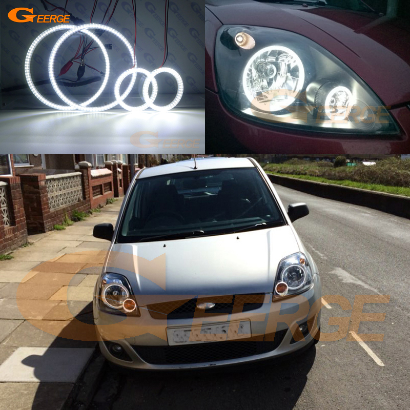 For ford fiesta facelift 2005 2006 2007 2008 Excellent 4 pcs smd led angel eyes Ultra bright illumination Angel Eyes kit DRL for bmw e46 cabrio coupe 325ci 330ci 2004 2005 2006 facelift excellent ultra bright illumination smd led angel eyes kit drl