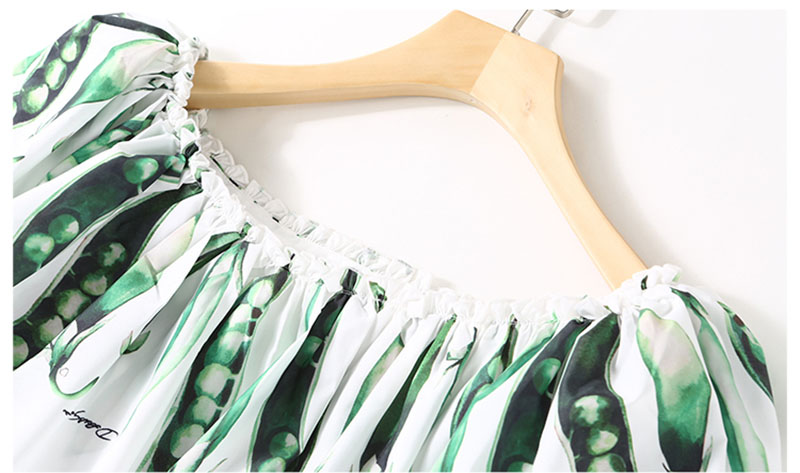 59a368a514 Plus Size New Pea Pod Printing Shoulder Off Women New Chiffon Long ...