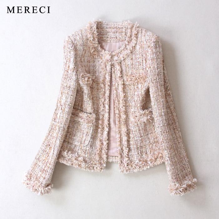 Women fashion elegant tweed coat fringe