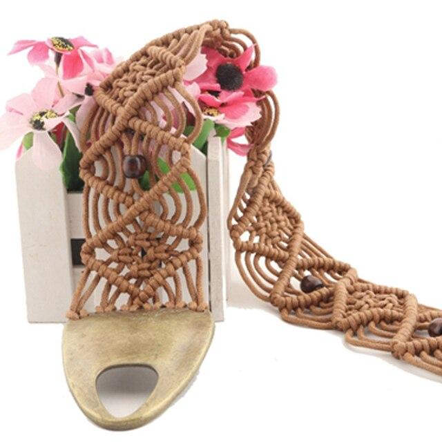 Big Metal Buckle Wide Womens Belt Knotted Tassels Waist Chain 2016 New Designers Casual Plaid Retro Belts Waistband Girdle Q231