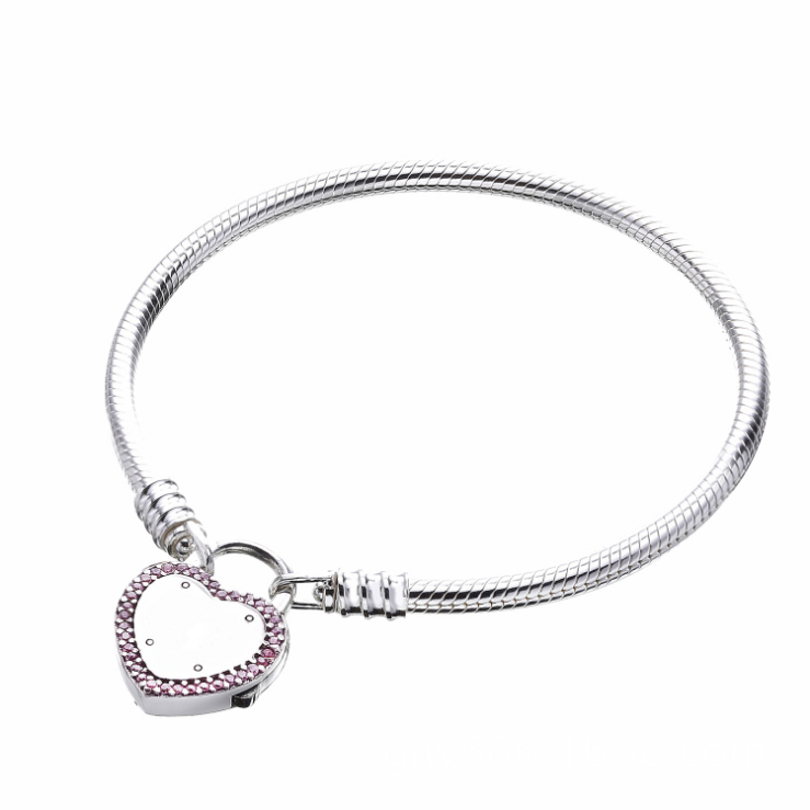 2018 New 100% 925 Sterling silver Heart Shaped Lock Pink CZ Snake Chain Original panqiou Charm Bracelet For Women Fine Jewelry