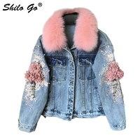Цветочный бисер потертые короткая куртка женская с длинным рукавом карманы укороченный повседневное Лисий меховой воротник модная верхня