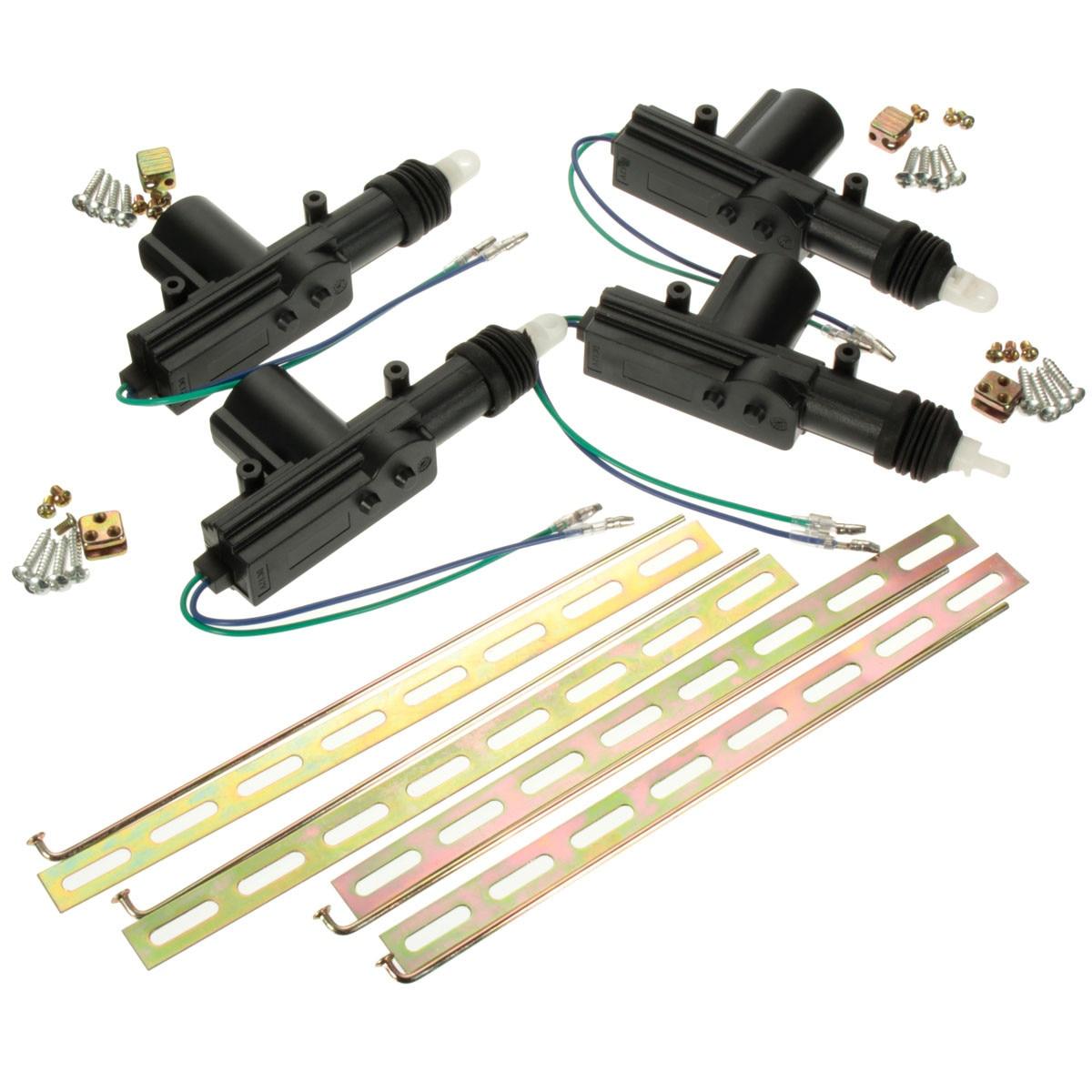 4 pces 12 v universal kit de energia do motor fechadura central da porta do carro com 2 fios do atuador do veículo automático remoto sistema de bloqueio central do motor