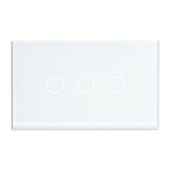 Bseed 240v Touch Switch 3 Gang 1 Way Wall Switch With Glass Panel White Light Switch Us Au Eu Uk smart home black touch switch crystal glass panel 3 gang 1 way us au light touch screen switch ac110 250v wall touch switches