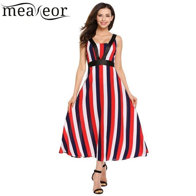 a9dafffc1a8 Meaneor Полосатый длиной макси платье Для женщин контраст Цвет Империя  Платья для женщин 2018 Новое модное