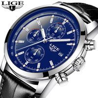 2018 LIGE Watch Men Sport Quartz Fashion Leather Clock Mens Watches Top Brand Luxury Waterproof Business