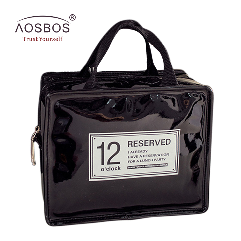 Aosbos Women Waterproof PU Thermal Insulated Lunch Bag Tote Men Thickened Cooler Bags Womens Food Insulation Picnic Bags termica
