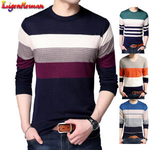 Pullover Men Sweater Jersey-Clothing Knitwear Winter Casual Spring Autumn Striped Slim-Fit
