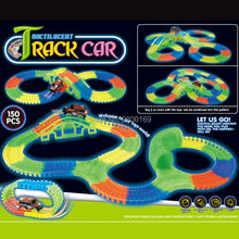 Bend Flex Slot DIY  Assembly Puzzle Grows race track Toy Glow in the Dark Educational Toys for Kids 56/128/150pcs + 1 PC Led Car