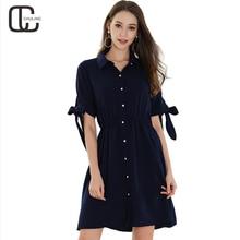 2018 Summer New Women's Chiffon Simple Fashion Shirts Red Blue Dresses Casual Elegant Lady Business Plus Size Woman A-Line Dress
