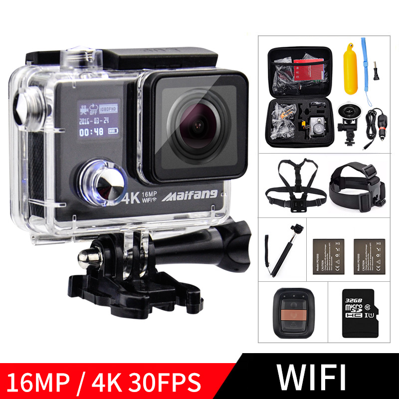 16MP 4K 30FPS WIFI 1080P 60fps Maifang NTK 96658 remote control 170D waterproof aksiyon go deportiva Sport cam pro action Camera ultra hd 4k action camera wifi camcorders 16mp 170 go cam 4 k deportiva 2 inch f60 waterproof sport camera pro 1080p 60fps cam
