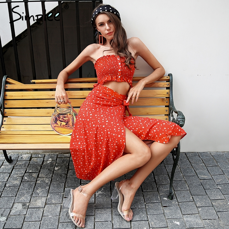Simplee Floral print strapless two piece dress women Split beach smocking tube boho dress Wrap casual summer dress 2018 vestidos|Dresses|   - AliExpress