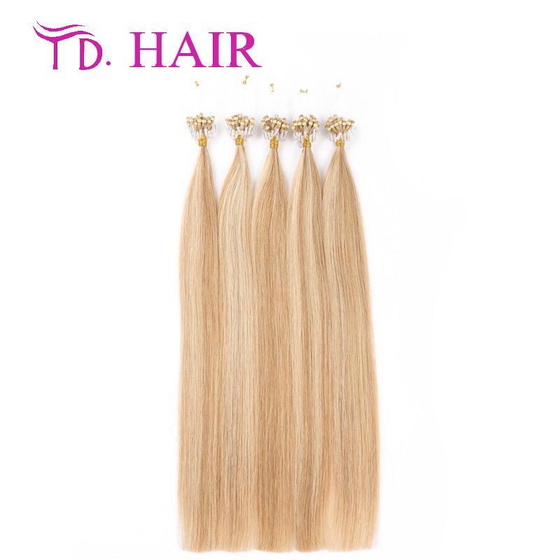 #27/613 Micro loop ring hair extension DHL free shipping 613 blonde virgin hair double drawn human hair extensions on sale