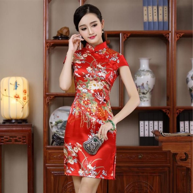 chinese traditional modern qipao wedding dress red dresses cheongsam plus  size with embroidery black sexy silk 6aff6d8795db