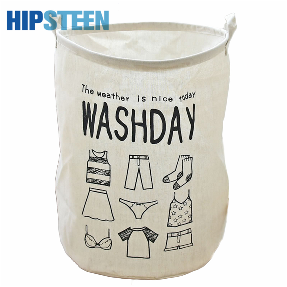 HIPSTEEN Creative Folding Waterproof Laundry <font><b>Basket</b></font> 40*50cm Large for Toys Washing Sundries Dirty Clothes <font><b>Storage</b></font> Bin Box White