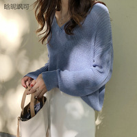 2018 New Autumn Womens Sweaters 2018 Winter Plus Size Pullovers Knitted Tops V neck Solid Sky Blue Christmas Warm Jumper Femme
