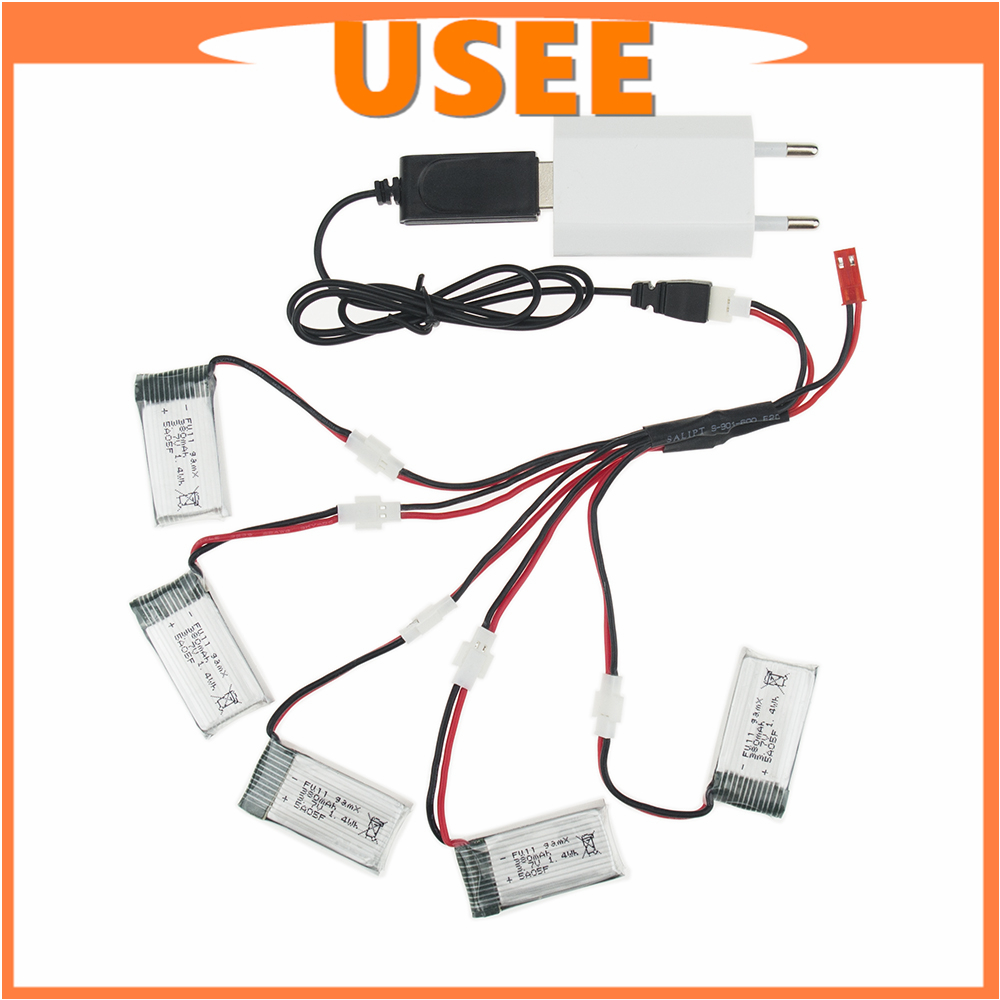 Caricabatterie Fytoo 5pcs 3 7v 380mah 25c Lipo Batteria E: 5pcs 3.7V 380mAh LiPo Battery With 5in1 Charger For JJRC