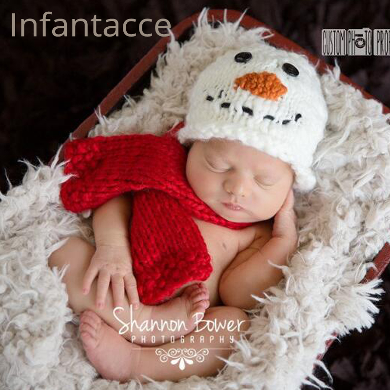 newborn photography props hat + scarf set accessories baby hats beanie cap new born bonnet baby boy hat props for photo shoot