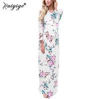 Ruiyige Boho Pockets Women Long Maxi Dress Print Floral Autumn O Neck Dresses Elegant Retro Travel