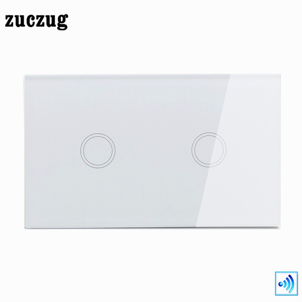 Zuczug US/AU Remote Control Switch, White Crystal Glass Panel Wireless touch light , Wireless Remote 433.92MHz Light Switch, smart home us black 1 gang touch switch screen wireless remote control wall light touch switch control with crystal glass panel