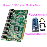 Riser Card Support 8 Graphics For Mining Video card BTC Miner Machine 1 PCI E To 8 Pin USB 3.0+8pcs SATA to 8Pin Adapter Card