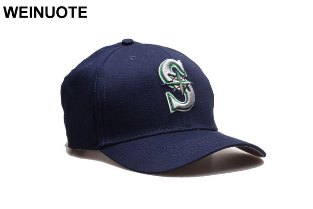 174ac015 US $12.0  New Seattle Mariners Adjustable Strapback Hats Sport classic  Fashion Baseball Full Navy Hat Caps Hat Fowmen Free shipping-in Baseball  Caps ...