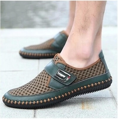 fashion summer casual leather loafer canvas driving men's