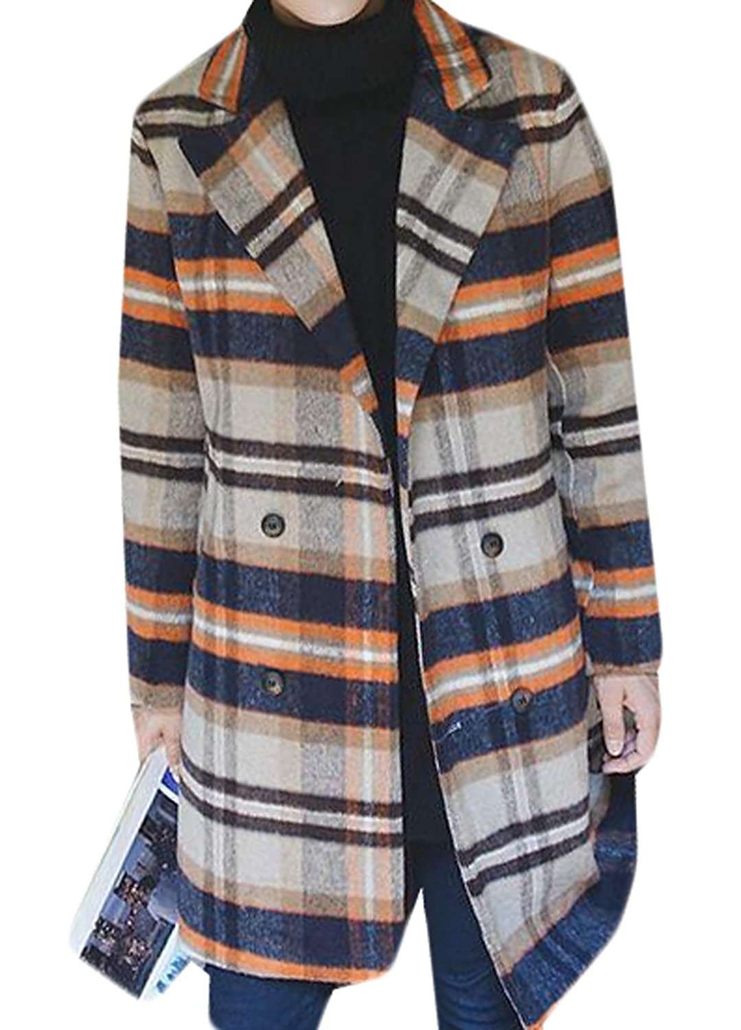 HANA+DORA Men's Slim Fit Plaid Wool Blend Long Pea Coat