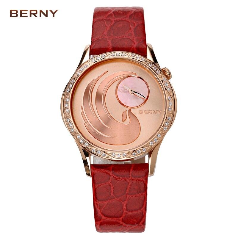 BERNY Famous Brand Clock Women Quartz Watch New Fashion Red Leather Rose Gold Ladies Dress Luxury Quartz-Watch Reloj Mujer 2761L
