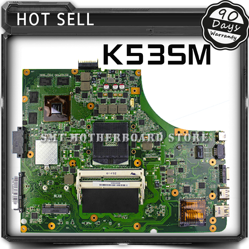 K53SM For Asus K53SV 8 Memory GT630M with 2GB DDR3 RAM Laptop Motherboard System Board Main Board Card Logic Board Tested Well mbx 265 for sony svt13 motherboard with cpu i3 3217u 2gb memory pc motherboard professional wholesale 100