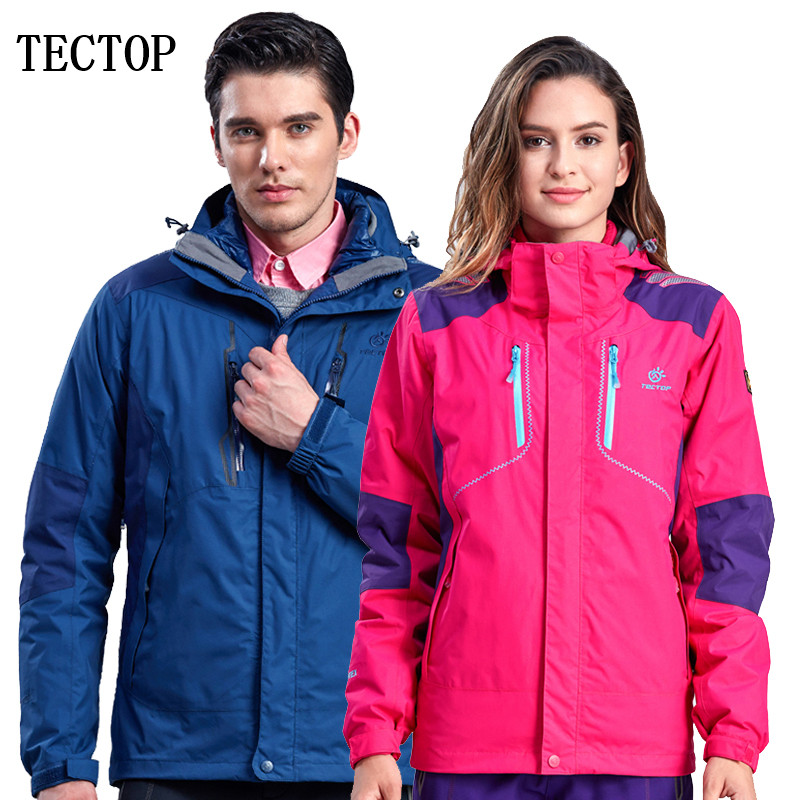 Tectop outdoor male men Women shell+Liner Two pieces thicken thermal keep warm waterproof windproof hiking camping jacket coat remeza 4 100 lb 30 a