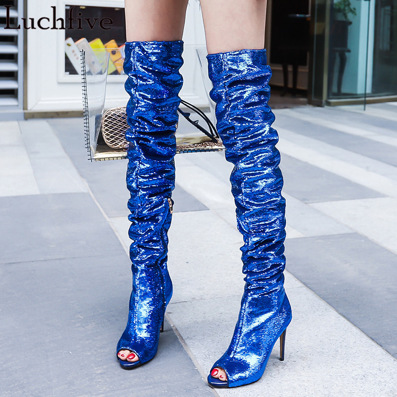 Blue silver over the knee boots sexy peep toe shiny sequins thin high heels thigh high boots for women 2018 summer shoes pumps hot boots women sexy black thigh high boots peep toe soft leather back zip high heels over the knee boots gladiator sandal boots