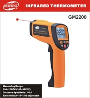GM2200 Non Contact LCD display IR Infrared Digital Temperature Gun Thermometer 200~2200C 80:1 RS232 interface Software CD