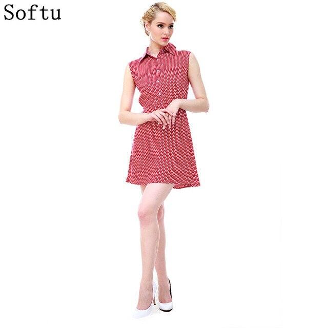Softu Женская мода милый летнее платье без рукавов майка маленькие листья печати строки отложной воротник Мини-платья с кнопками