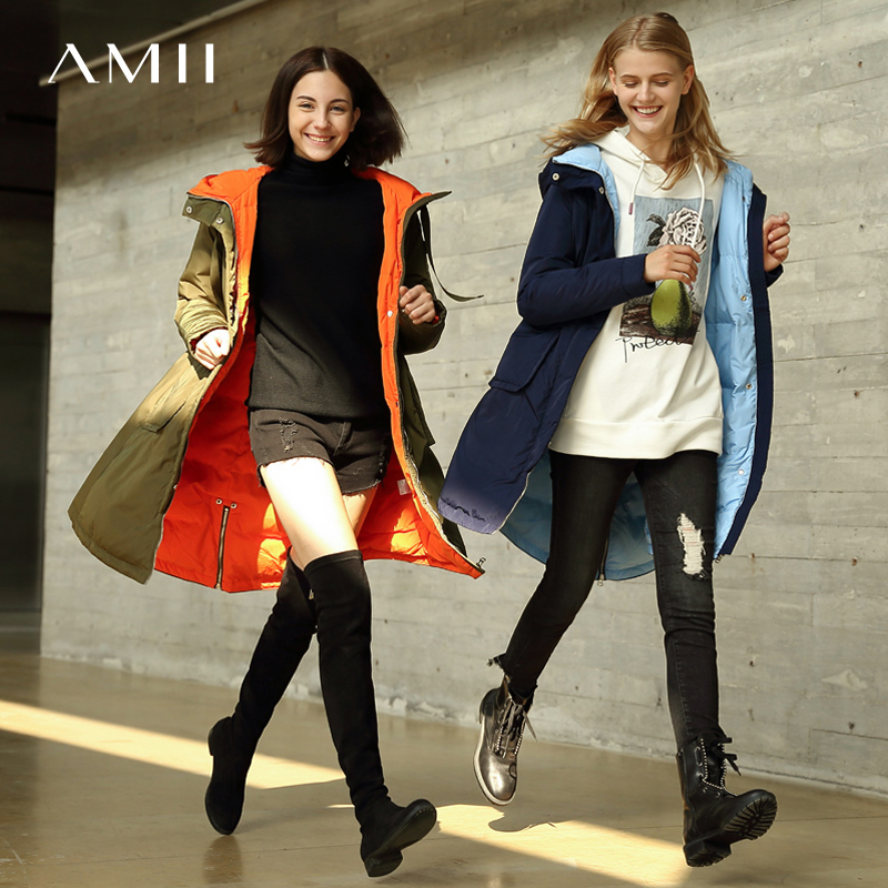 Amii Minimalist Winter Hooded Down Jacket Women 2018 Casual Solid Thick Patchwork Plus Size Loose Waterproof
