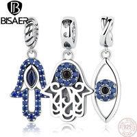 925 Sterling Silver Beads Blue Stone Crystal Flower DIY Charms Beads Fit Charm Pandora Bracelet DIY