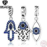 925 Sterling Silver Beads Blue Stone Crystal Flower DIY Charms Beads Fit Charm Pandora Bracelet DIY