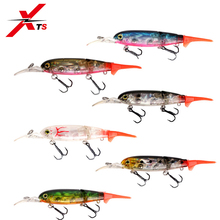 XTS 6 Pcs/lot Fishing Lure 90mm 8.6g Wobblers Crankbait Artificial Hard Minnow Bait Floating Two Sections S5357