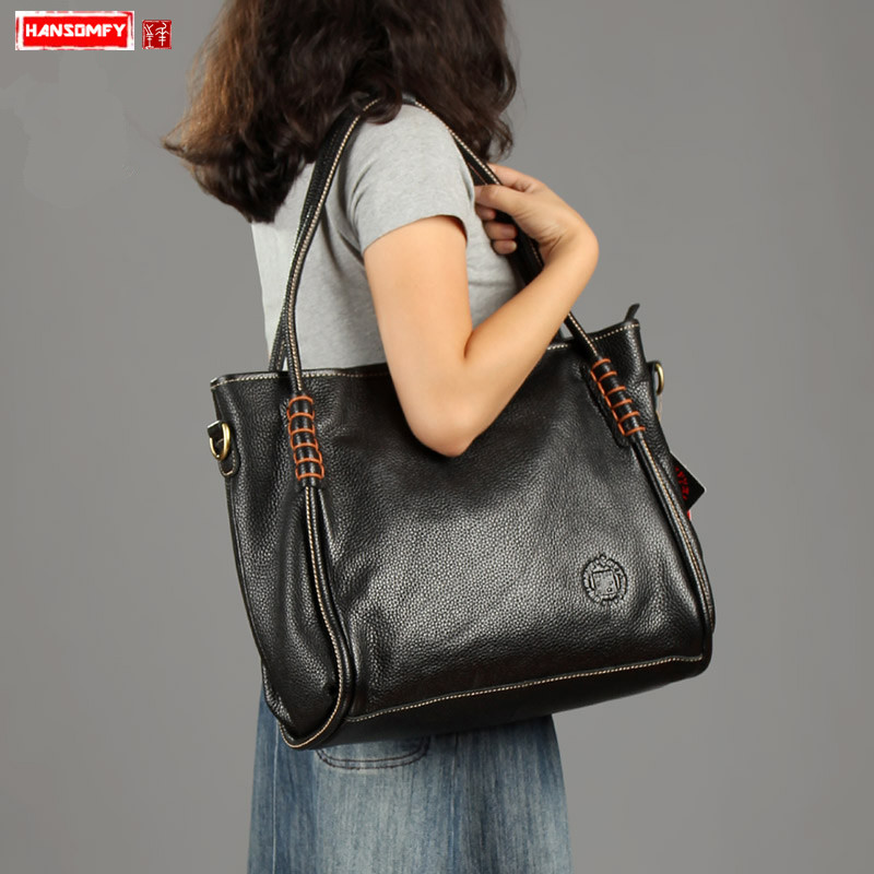 The first layer of leather Women handbags retro personality trend shoulder bags female large capacity messenger bag black brownThe first layer of leather Women handbags retro personality trend shoulder bags female large capacity messenger bag black brown