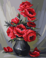 Red Flower Frameless Picture Painting By Numbers DIY Canvas Oil Painting Wall Art Home Decor For