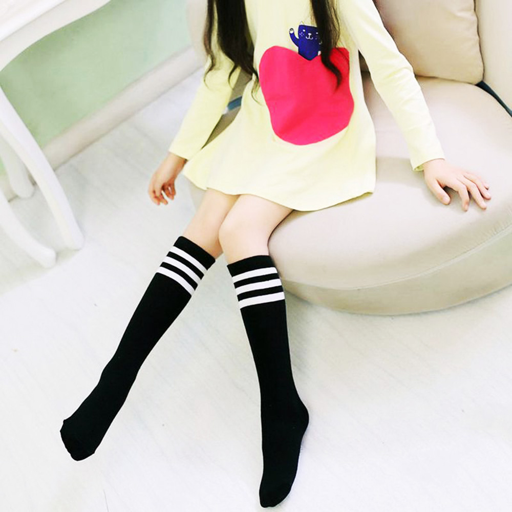 Sports School White Socks Kids Knee High Socks Girls Boys Football Stripes Cotton Skate Children Baby Long Tube Leg Warm
