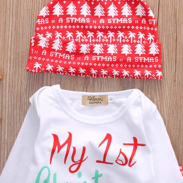 1930262d05f96 2016 Christmas Newborn Baby Girl Boy Snowflake Romper Pants Leggings Hat  3pcs Outfits Infant Bebek Clothing Set 0-18M