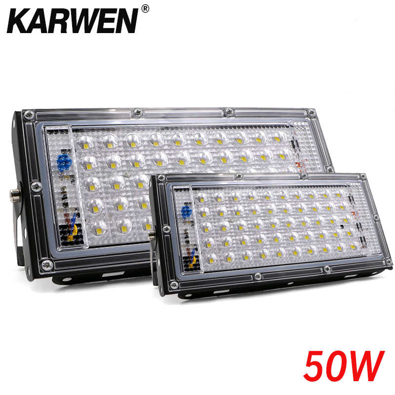 Tahan Air Ip65 LED Flood Light 50 Watt AC 220V 240V Lampu Sorot Outdoor Lampu Taman LED Reflektor Cahaya Dilemparkan lampu Sorot