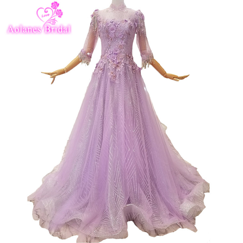 2018 Cheap Purple Tulle Pearl Bead Tassel High Neck A line Prom Party Dress Half Sleeves Floor length Illusion Evening Dresses
