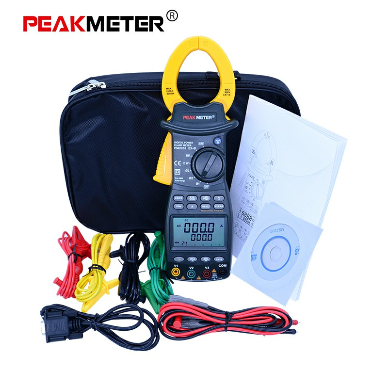 PEAKMETER Digital Clamp Meter True RMS Multimeter for AC Voltage Current Reactive Power Frequency With RS232C