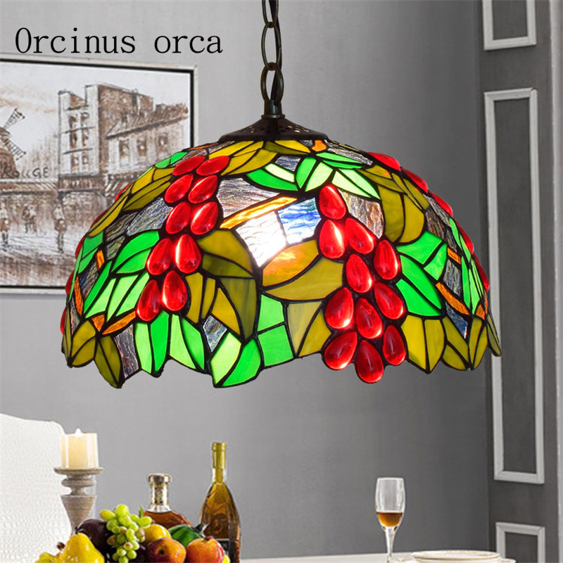 the best attitude 3b8db 46a39 US $98.0 |European style creative coloured glass chandelier restaurant  bedroom balcony bar Mediterranean color carving glass pendant lamp-in  Pendant ...